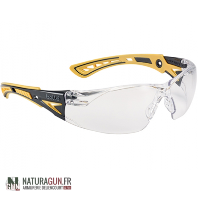 BOLLE - LUNETTE PROTECTION - SAFETY RUSH+ - INCOLORE - JAUNE NOIR - PLATINUM