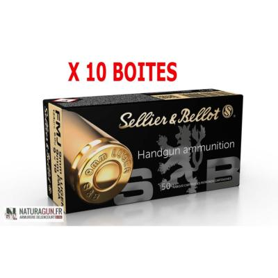 SELLIER & BELLOT - MUNITION - CAT B - 9MM- 124 GR - 8 G - FMJ - 3041 - X500